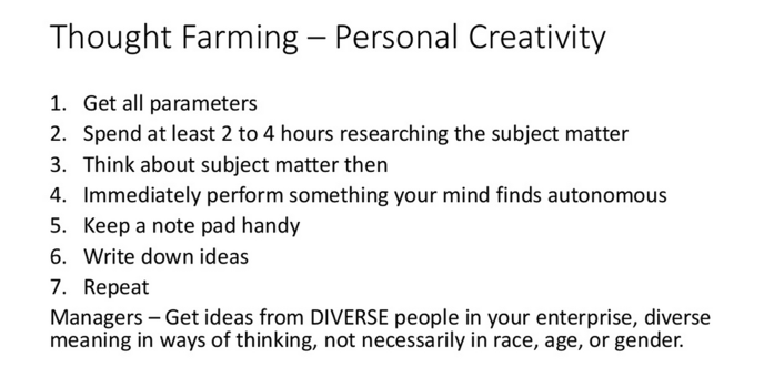 Generating content ideas through Thought Farming - Personal Creativity