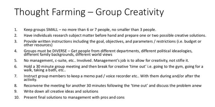 Generating content ideas through Thought Farming - Group Creativity