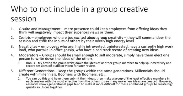 What not to include in a group creative session